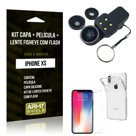 Kit iPhone XS Capa Silicone + Película de Vidro + Fisheye com Flash - Armyshield
