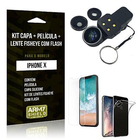 Kit iPhone X Capa Silicone + Película de Vidro + Fisheye com Flash - Armyshield