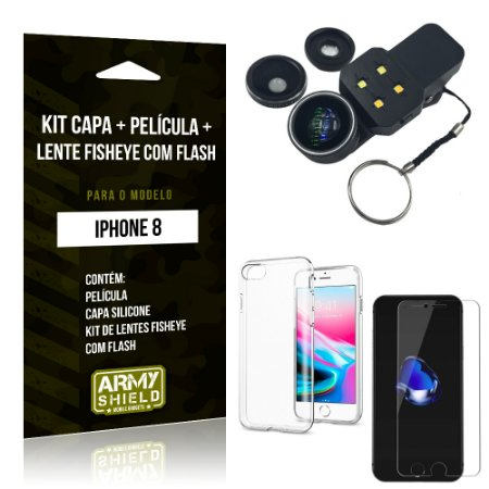Kit iPhone 8 Capa Silicone + Película de Vidro + Fisheye com Flash - Armyshield