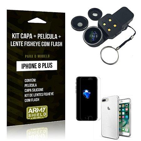 Kit iPhone 8 Plus Capa Silicone + Película de Vidro + Fisheye com Flash - Armyshield
