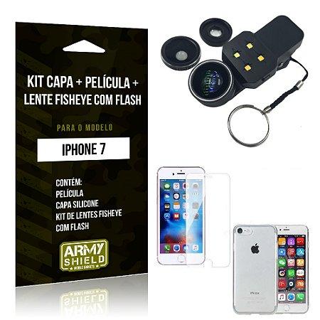 Kit iPhone 7 Capa Silicone + Película de Vidro + Fisheye com Flash - Armyshield