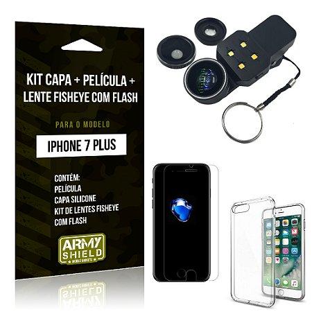 Kit iPhone 7 Plus Capa Silicone + Película de Vidro + Fisheye com Flash - Armyshield