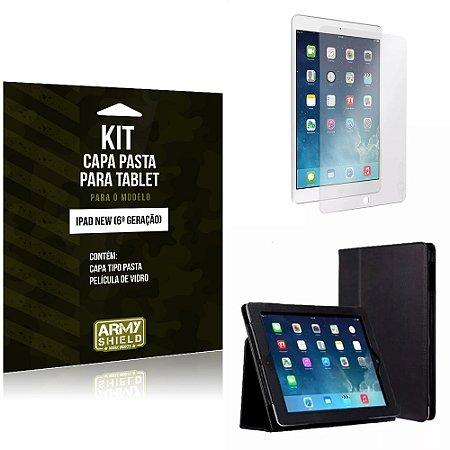 Kit Apple iPad New 6 Geração Capa Pasta + Película de Vidro - Armyshield