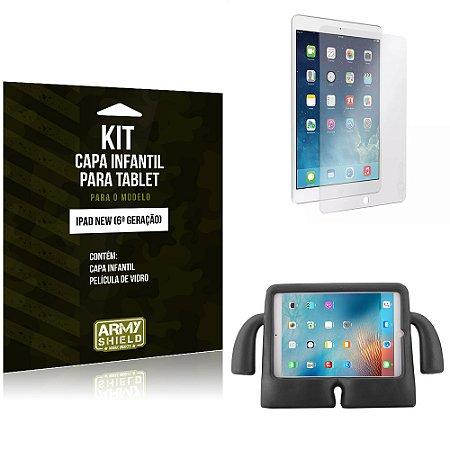 Kit Apple iPad New 6 Geração Capa Infantil Preta + Película de Vidro - Armyshield