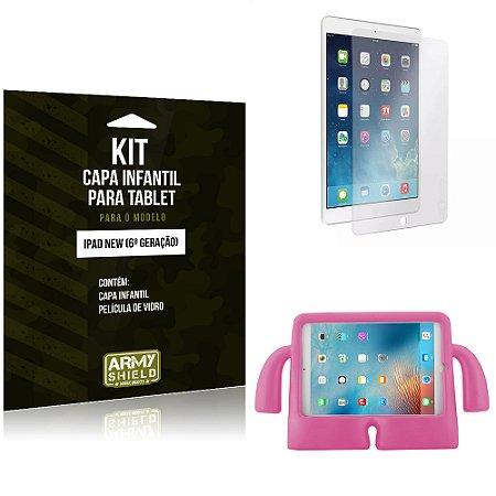 Kit Apple iPad New 6 Geração Capa Infantil Rosa + Película de Vidro - Armyshield