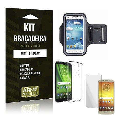 Kit Braçadeira Moto E5 Play Braçadeira + Película + Capa - Armyshield