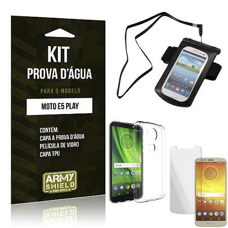Kit Capa à Prova D'água Moto E5 Play Prova Dágua + Película + Capa - Armyshield