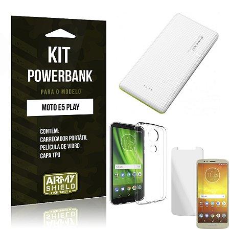 Kit Powerbank Moto E5 Play Powerbank + Película + Capa - Armyshield