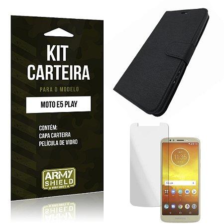 Kit Capa Carteira Moto E5 Play Capa Carteira + Película - Armyshield