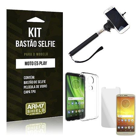 Kit Bastão Selfie Moto E5 Play Bastão + Película + Capa - Armyshield