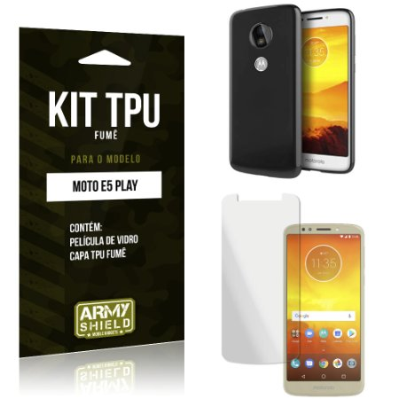 Kit Capa Fumê Moto E5 Play Película + Capa Fumê - Armyshield