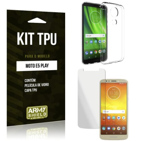 Kit Capa Silicone Moto E5 Play Película + Capa - Armyshield