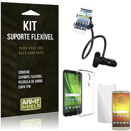 Kit Suporte Flexível Moto E5 Play Suporte + Película + Capa - Armyshield