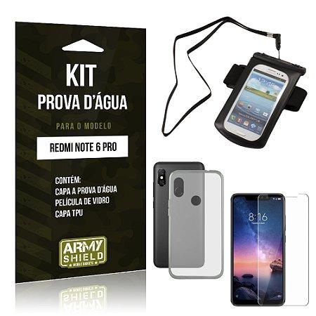 Kit Capa à Prova D'água Xiaomi Redmi Note 6 Pro Prova Dágua + Película + Capa - Armyshield