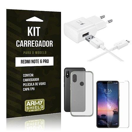 Kit Carregador Xiaomi Redmi Note 6 Pro Carregador + Película + Capa - Armyshield