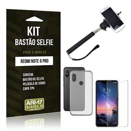 Kit Bastão Selfie Xiaomi Redmi Note 6 Pro Bastão + Película + Capa - Armyshield