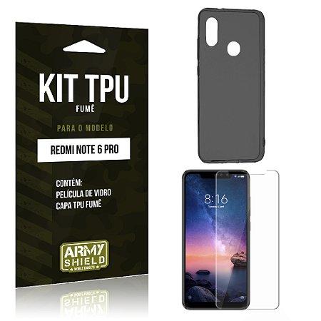 Kit Capa Fumê Xiaomi Redmi Note 6 Pro Película + Capa Fumê - Armyshield