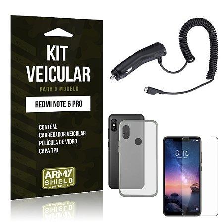 Kit Carregador Veicular Xiaomi Redmi Note 6 Pro Carregador + Película + Capa - Armyshield