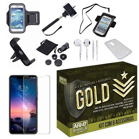 Kit Gold Xiaomi Redmi Note 6 Pro com 8 Acessórios - Armyshield