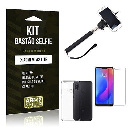 Kit Bastão Selfie Xiaomi Mi A2 Lite (Redmi 6 Pro) Bastão + Película + Capa - Armyshield