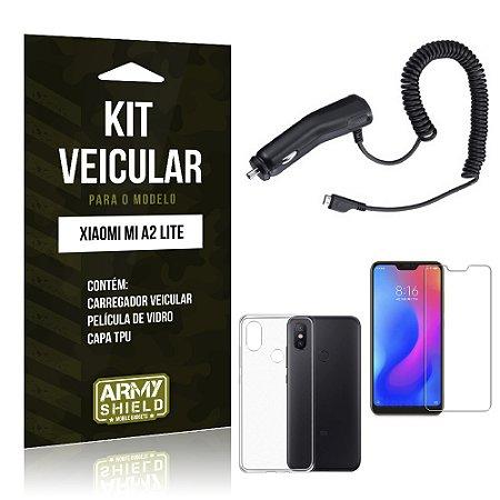 Kit Carregador Veicular Xiaomi Mi A2 Lite (Redmi 6 Pro) Carregador + Película + Capa - Armyshield