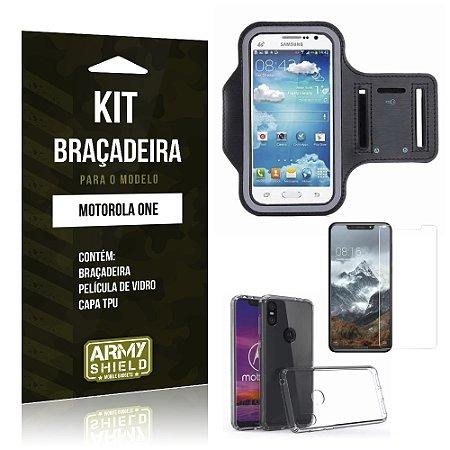 Kit Braçadeira Motorola One Braçadeira + Película + Capa - Armyshield