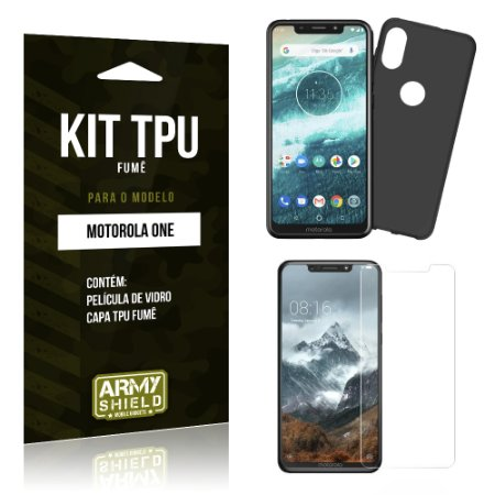 Kit Capa Fumê Motorola One Película + Capa Fumê - Armyshield