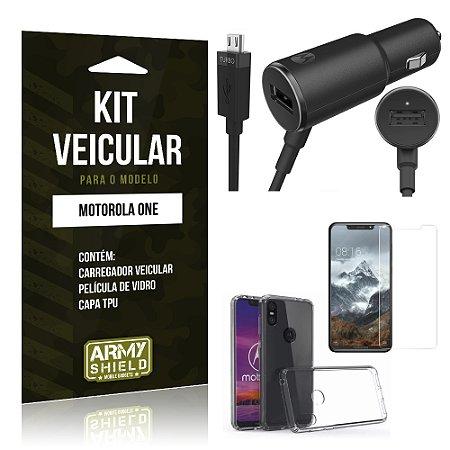 Kit Carregador Veicular Tipo C Motorola One Carregador + Película + Capa - Armyshield