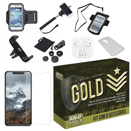 Kit Gold Motorola One com 8 Acessórios - Armyshield