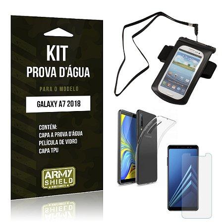 Kit Capa à Prova D'água Galaxy A7 2018 Prova Dágua + Película + Capa - Armyshield