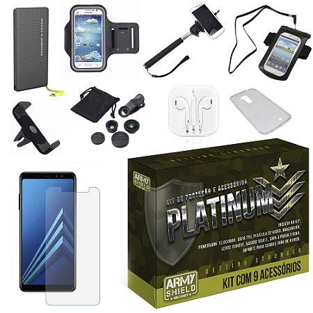Kit Platinum Galaxy A7 2018 com 9 Acessórios - Armyshield