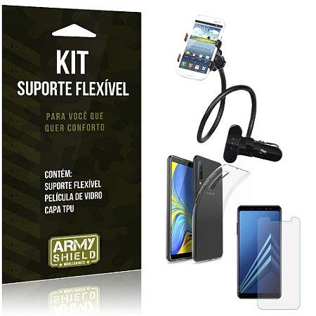 Kit Suporte Flexível Galaxy A7 2018 Suporte + Película + Capa - Armyshield