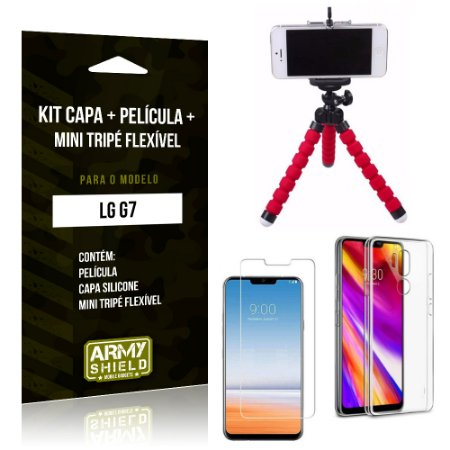 Kit LG G7 Capa Silicone + Película de Vidro + Mini Tripé Flexível - Armyshield