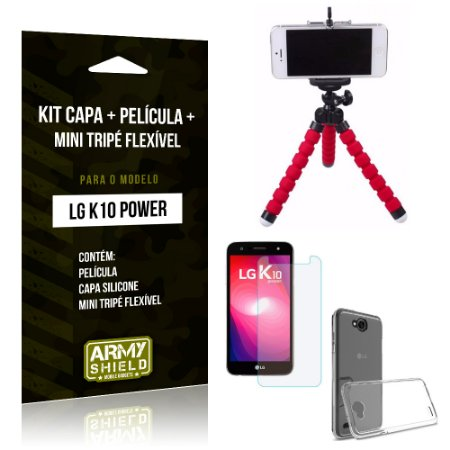 Kit LG K10 Power Capa Silicone + Película de Vidro + Mini Tripé Flexível - Armyshield