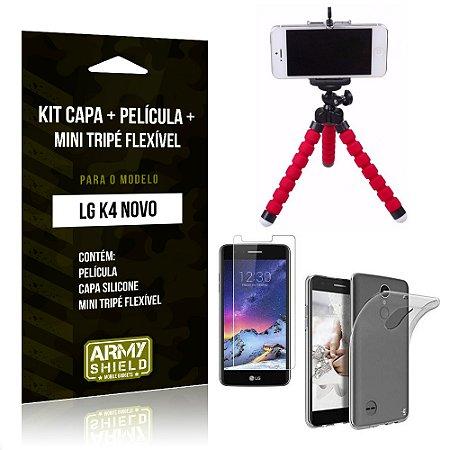 Kit LG K4 Novo Capa Silicone + Película de Vidro + Mini Tripé Flexível - Armyshield