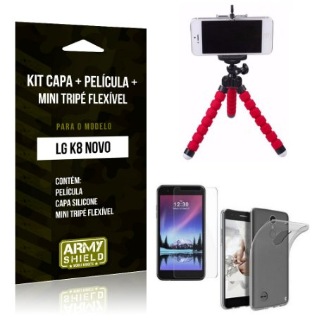 Kit LG K8 Novo Capa Silicone + Película de Vidro + Mini Tripé Flexível - Armyshield
