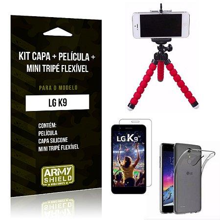 Kit LG K9 Capa Silicone + Película de Vidro + Mini Tripé Flexível - Armyshield