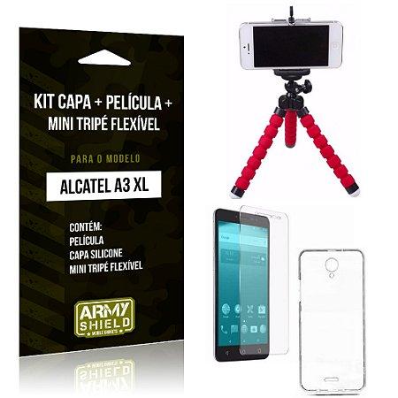 Kit Alcatel A3 XL Capa Silicone + Película de Vidro + Mini Tripé Flexível - Armyshield