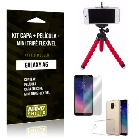Kit Galaxy A6 Capa Silicone + Película de Vidro + Mini Tripé Flexível - Armyshield
