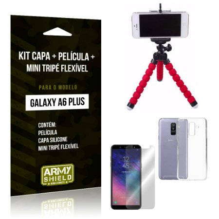 Kit Galaxy A6 Plus Capa Silicone + Película de Vidro + Mini Tripé Flexível - Armyshield