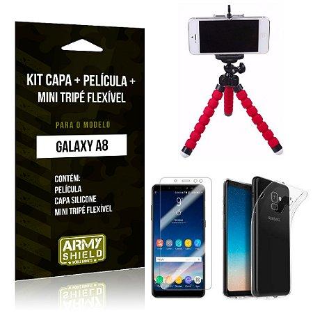 Kit Galaxy A8 Capa Silicone + Película de Vidro + Mini Tripé Flexível - Armyshield