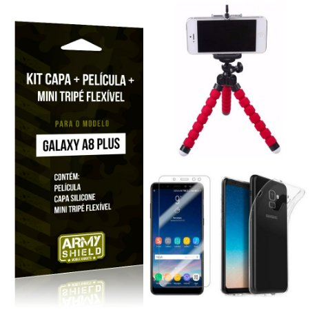 Kit Galaxy A8 Plus Capa Silicone + Película de Vidro + Mini Tripé Flexível - Armyshield