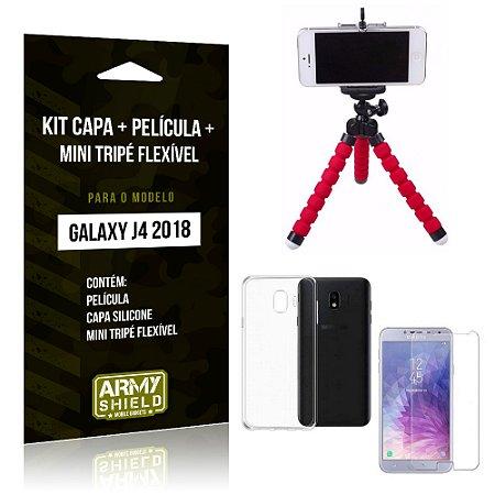 Kit Galaxy J4 (2018) Capa Silicone + Película de Vidro + Mini Tripé Flexível - Armyshield