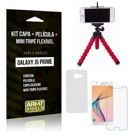 Kit Galaxy J5 Prime Capa Silicone + Película de Vidro + Mini Tripé Flexível - Armyshield