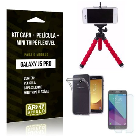 Kit Galaxy J5 Pro 2017 Capa Silicone + Película de Vidro + Mini Tripé Flexível - Armyshield