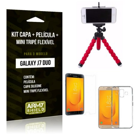 Kit Galaxy J7 Duo (2018) Capa Silicone + Película de Vidro + Mini Tripé Flexível - Armyshield