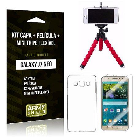 Kit Galaxy J7 Neo (2017) Capa Silicone + Película de Vidro + Mini Tripé Flexível - Armyshield