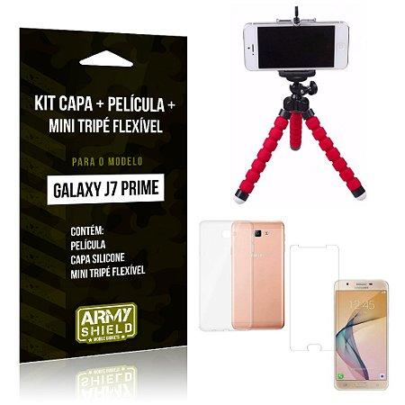 Kit Galaxy J7 Prime Capa Silicone + Película de Vidro + Mini Tripé Flexível - Armyshield
