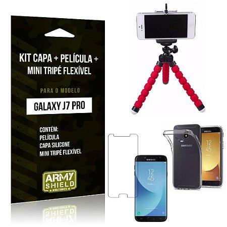 Kit Galaxy J7 Pro (2017) Capa Silicone + Película de Vidro + Mini Tripé Flexível - Armyshield
