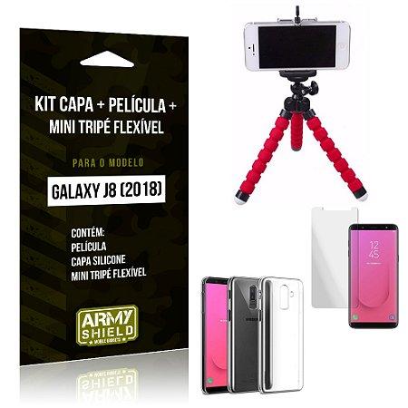 Kit Galaxy J8 (2018) Capa Silicone + Película de Vidro + Mini Tripé Flexível - Armyshield